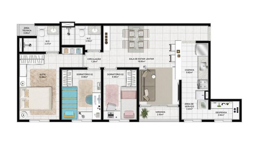 Neue moderne Wohnung zum Verkauf in Piatu00e3 : Hansen Imu00f3veis